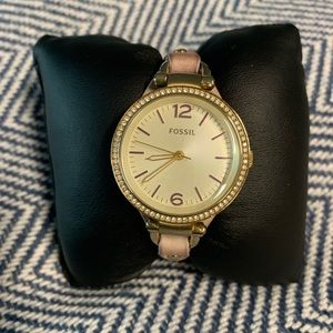 Gold Fossil Lilac Leather Band